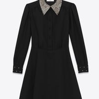 SAINT LAURENT SCHOOLGIRL MINI DRESS IN BLACK WOOL SABLÉ AND CLEAR CRYSTAL | YSL.COM