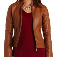Ruched Faux Leather Jacket by Charlotte Russe - Cognac