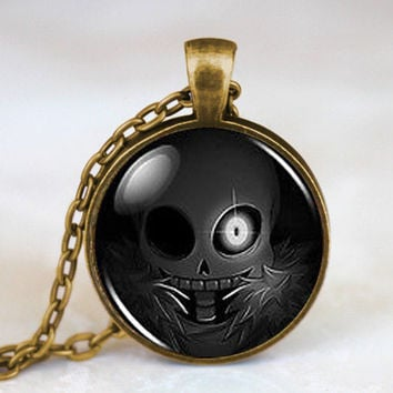 Undertale Sans Skull Black Game Gamer Gaming Mens Handmade Fashion Necklace silver Pendant steampunk Jewelry Gift women chain
