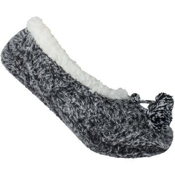 Womens Sleepyz Fuzzy Slippers with Poms