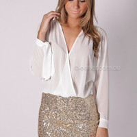 farrah sequin cocktail - white/gold at Esther Boutique