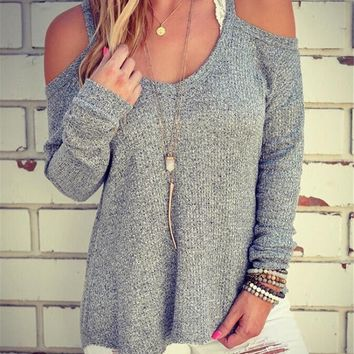 Knit Winter Strapless Spaghetti Strap Long Sleeve Slim Bottoming Shirt [11182512519]