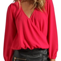 Lovers + Friends Lovely Long Sleeve Drape Top Crepe Valentines Day Blouse