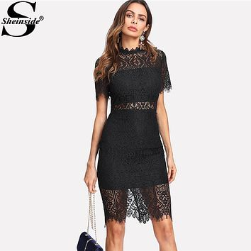 Sheinside 2018 Party Dress Black Stand Collar Short Sleeve Plain Eyelash Lace Dress Women Elegant Scallop Trim Fitted Dress