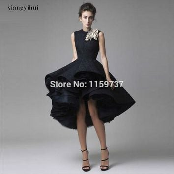 New Arrival Black Lace Evening Dresses Mid-calf Length Handmade Flower Modern Ball Gown abendkleider robe de soiree
