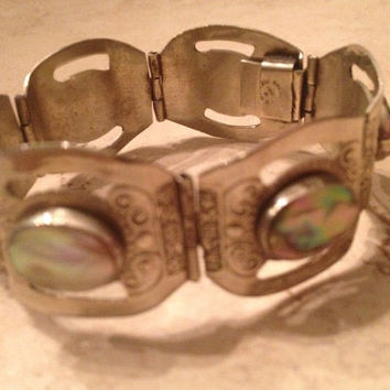 Vintage Mexican Abalone Bracelet Silver Mexico IEN Mexico Boho Jewelry