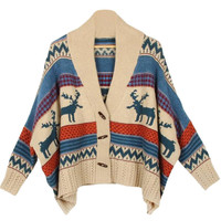 Deer Print Cape Knitted Sweater