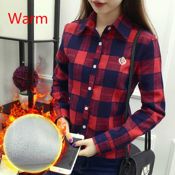 Thick Velvet Blusas Winter Cotton Long sleeved Women's Plaid Shirt Flannel Blouses Feminina Chemise Femme Fleece Femenina Tops