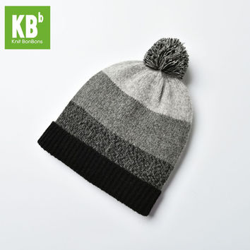 SALE KBB Xmas Black Friday Hot Style Comfy Gray Women Men Designer Lambswool Wool Yarn Knit Pom Pom Winter Hat Beanie Cap