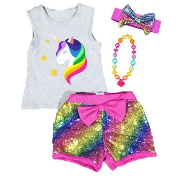 Rainbow Unicorn Outfit Sequin Pink Shorts And Tank Top Shirt