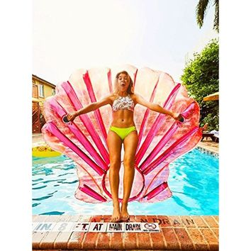 O-Toys Giant Inflatable Shell Pool Float Pink Large Outdoor Swimming Raft Inflatable Floatie Toy By Holiday Styling for Adults a