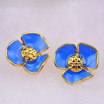 Tory Burch Fashion New Personality Floral Petal Earring Accessories Women Blue