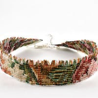 Upholstery Floral Fabric Ribbon Choker Necklace