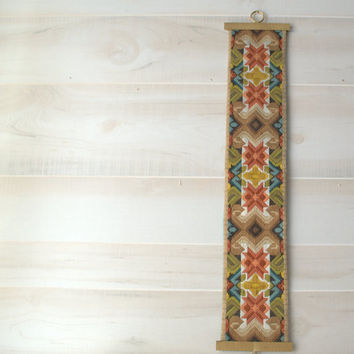 Vintage Brass and Embroidery Crewel Mid Century Wall Hanging