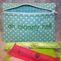 Oh Bloody Hell Tampon & Maxi Pad Case Mint Green Zippered Fabric Purse Pouch / Tampon Keeper