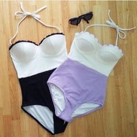 Hot Swimsuit Beach Summer New Arrival Sexy Swimwear High Rise Lace Bikini [4914834820]