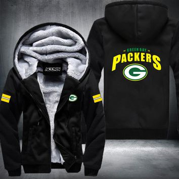 USA size Men Women Football Green Bay Packers Zipper Jacket Thicken Hoodie Coat Clothing Casual
