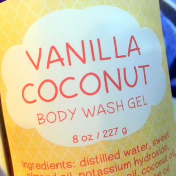 Vanilla Coconut Body Wash Gel ~ Shower Gel ~ Liquid Body Soap ~ Body Shampoo