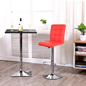 JEOBEST 2PCS/set Kitchen Bar Stools Red Leather Mini Bar Adjustable Bar Chair Breakfast Bar Stool Swivel Free Shipping in DE FR