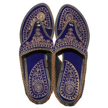 DCCK7BE Rajasthani !! Embroidered Heel Wedges Ethnic Fashion Woman Sandal, Slippers US 7