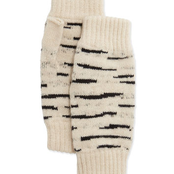 Cashmere Tiger-Stripe Fingerless Gloves, Size: ONE SIZE,