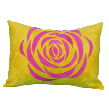 Chartreuse and Pink Ranunculus Pillow