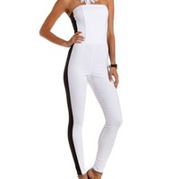 Black/White Color Block Strapless Jumpsuit by Charlotte Russe