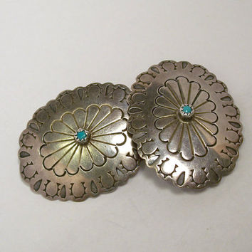 Vintage Navajo Concho Earrings,Concho Earrings,Sterling Silver Concho Earrings,Turquoise Concho Earrings.D.Skeets,Clip On Earrings,Horseshoe
