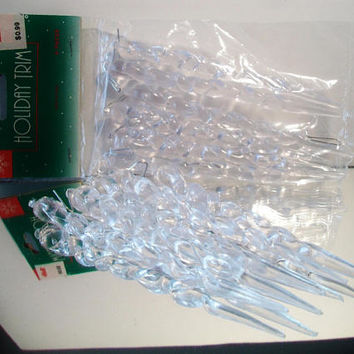 Vintage Clear Icicle Christmas Ornaments Festive Retro Holiday Home Decor Winter Wonderland