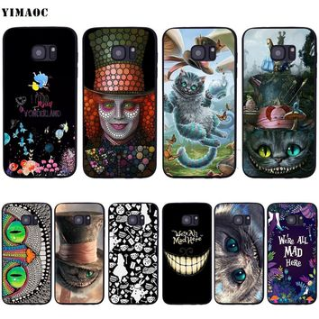 YIMAOC Alice in Wonderland Cat Soft Silicone Case for Samsung Galaxy S6 S7 Edge S8 S9 Plus A3 A5 A6 Note 8 9