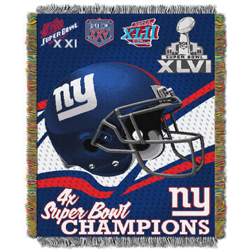 "Giants 4x Champs  """"Commemorative"""" 48x60 Tapestry Throw"
