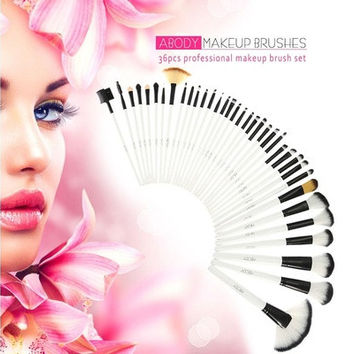 36Pcs Wood Makeup Brushes Kit Professional Cosmetic Make Up Set + Pouch Bag Case H12280|24701 [8096935559]