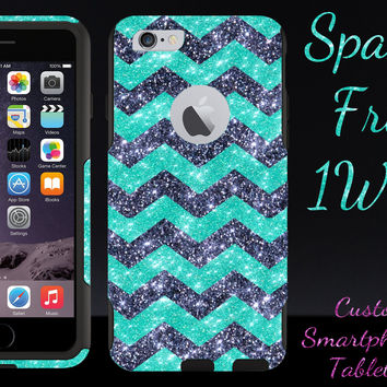 "OtterBox Commuter Series Case for 4.7"" iPhone 6 - Custom Glitter Case for 4.7"" iPhone 6 - Smoke Small Chevron Wintermint/Black"
