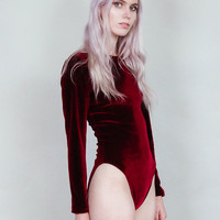 Party crasher - Long sleeve velvet bodysuit with scoop back - Merlot wine