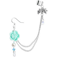 Handcrafted Aqua Rose Earring Chain Cuff MADE WITH SWAROVSKI ELEMENTS | Body Candy Body Jewelry