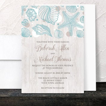Beach Wedding Invitations - Seashell and Whitewashed Wood Rustic design in Turquoise Blue White and Tan - Printed Invitations