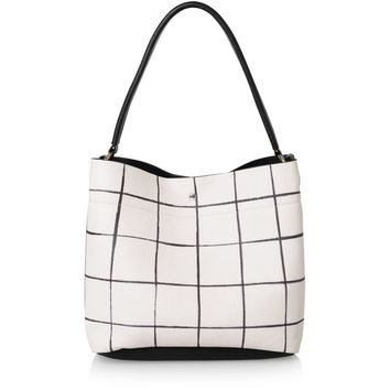 White Checked Hobo Slouch Bag | Oliver Bonas