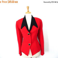 ON SALE Vintage 80s Red Black Wool Jacket Bicci Florine Wachter Blazer Size Medium