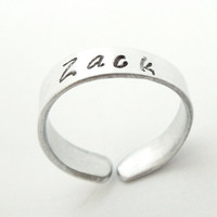 Mommy ring - Name ring - Personalized name ring - Stamped silver-tone aluminum sweetheart ring