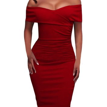 Red Ruched Off The Shoulder Bodycon Formal Midi Dress