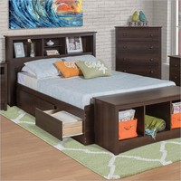 Twin XL Espresso Brown Platform Bed with Headboard & Storage Drawers