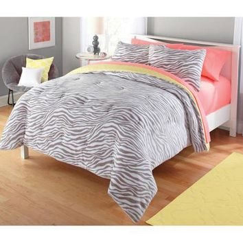 your zone 2-piece gray and yellow zebra comforter set - Walmart.com