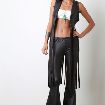 Vegan Leather Bell Bottom Pants