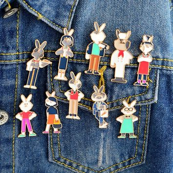 Miss Zoe Cute rabbit wearing clothes job chef waiter Brooch Denim Jacket Pin Buckle Shirt Badge Cartoon Jewelry Gift for Girls