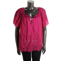 MICHAEL Michael Kors Womens Plus Cotton Eyelet Casual Top