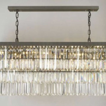 Retro Odeon Glass Fringe Rectangular Chandelier Lighting - G902-1156/12