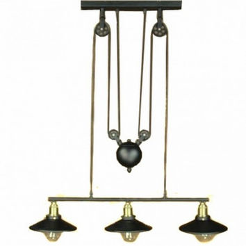 3 light Up and down adjustable black edison retro industrial countryside pulley pendant lamp light