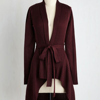 Boho Mid-length Long Sleeve Coastal Cafe Cardigan in Merlot