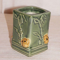 NEW FROGS & BAMBOO DESIGN PLANTER PLANT BAMBOO POT TOOTHBRUSH HOLDER CERAMIC 4""
