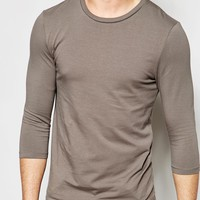 ASOS Muscle Fit 3/4 Sleeve T-Shirt In Grey With Crew Neck